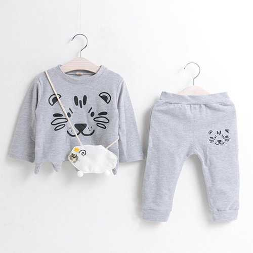 Cute Cat Printed Girls Clothing Set