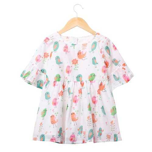 Girls Bird Cotton Summer Dress