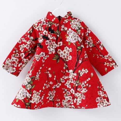 Flower Printed Chinese Style Girls Dresses