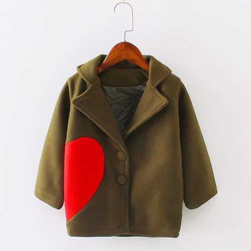 Girls Thicken Heart Woolen Coat