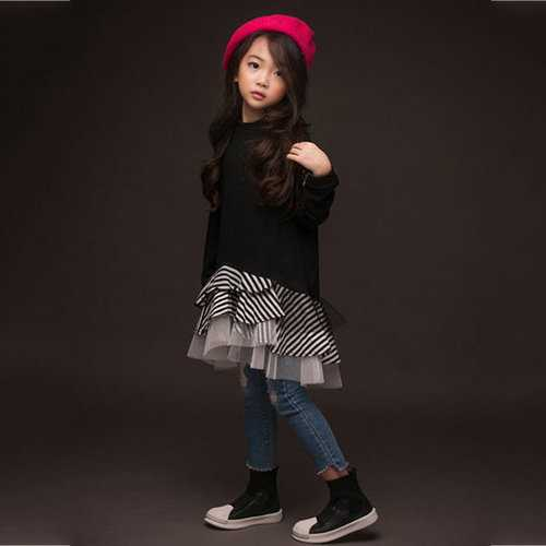 Girls Black Layered Mesh Dress