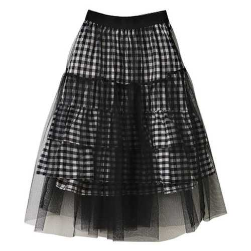Kids Girls Grid Patchwork Tulle Skirt