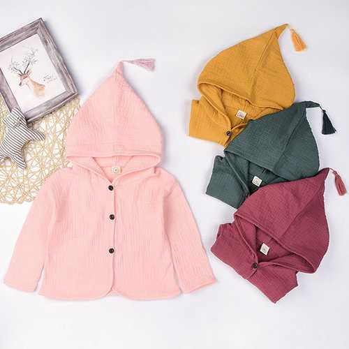 Girls Cardigan Hooded Cute Coat