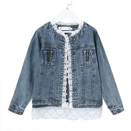 Girls Jean Jackets Kids Lace Coat
