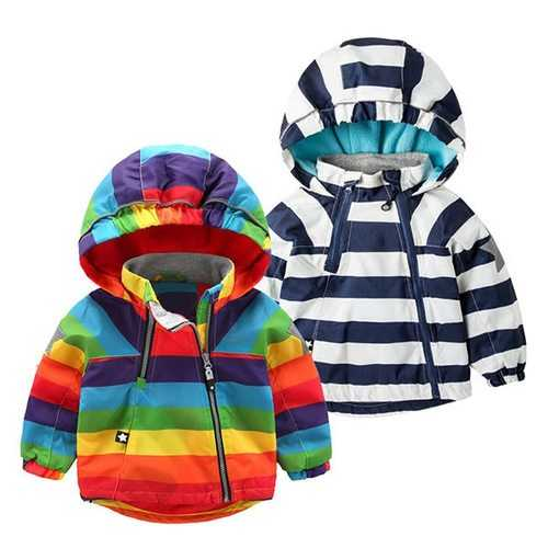 Striped Boys Girls Winter Jacket