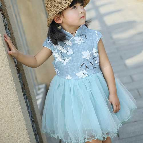Girls Floral Mesh Dress Chinese Style