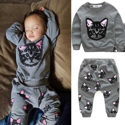 2pcs Cats Printed Girl Boy Clothing Set