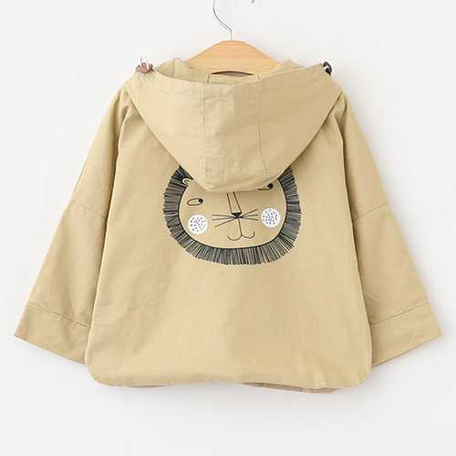 Lion Printed Girls Spring Autumn Hooded Coat