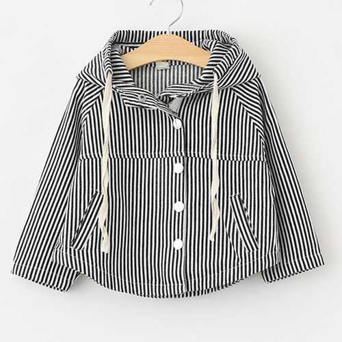 Striped Girls Spring Autumn Hooded Coat