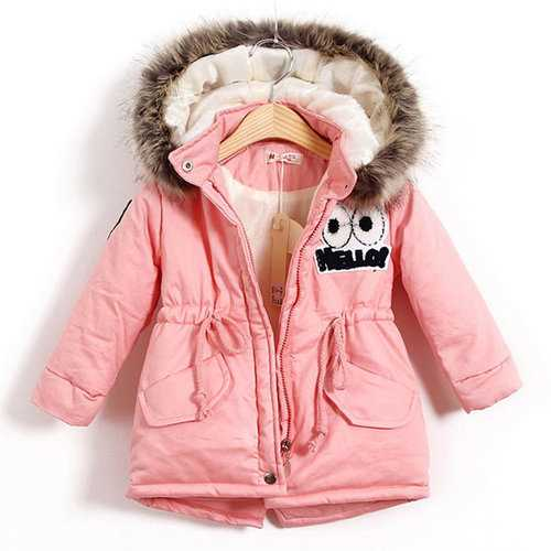 Girls Warm Thick Jackets With Fur Hat