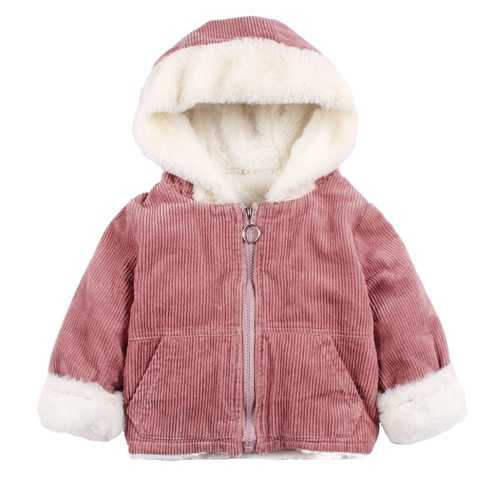 Girls Warm Thick Jackets With Fleece Hat