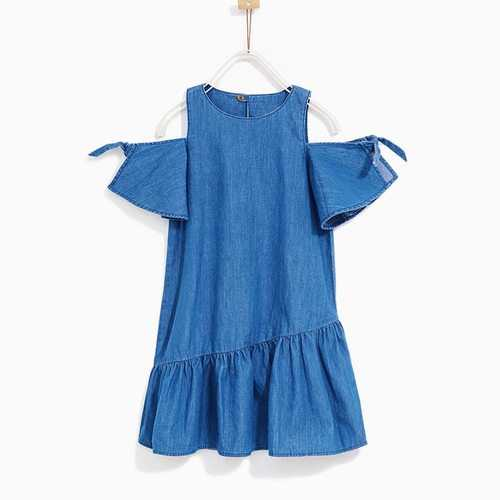Drop Shoulder Girls Denim Dress