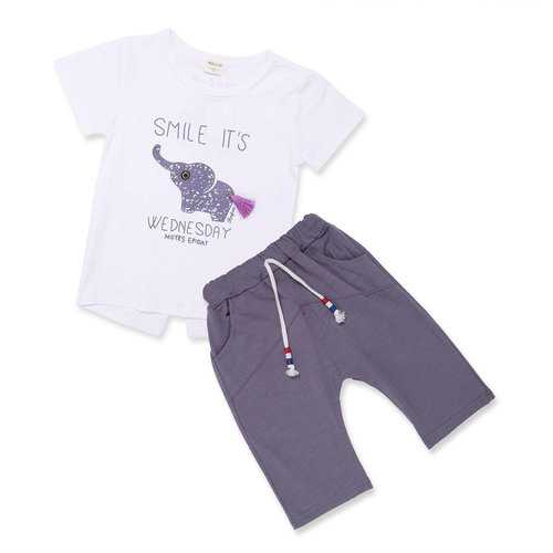 Letter Printed Girls Boys Short Sets