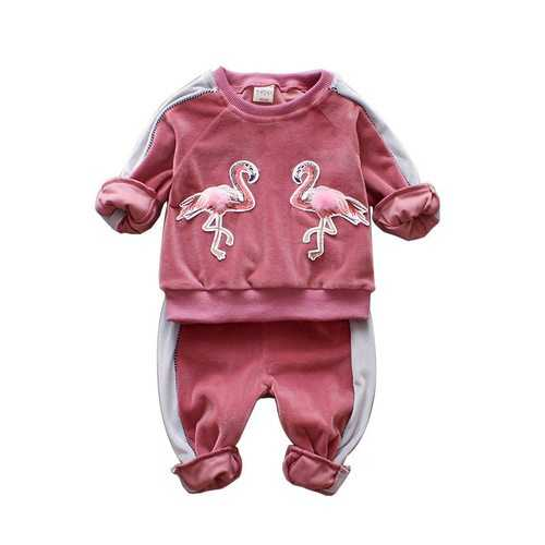 2Pcs Swan Girls Clothing Sets 1-7Y