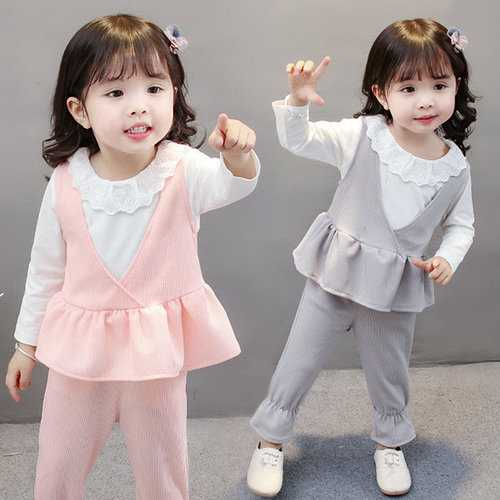 3pcs Ruffles Spring Girls Clothes Sets