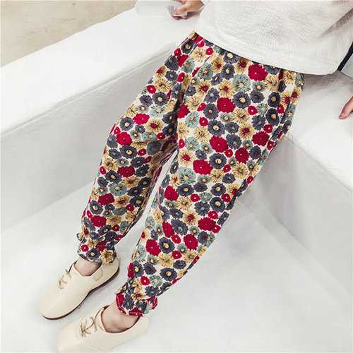 Girls Spring Autumn Floral Pants