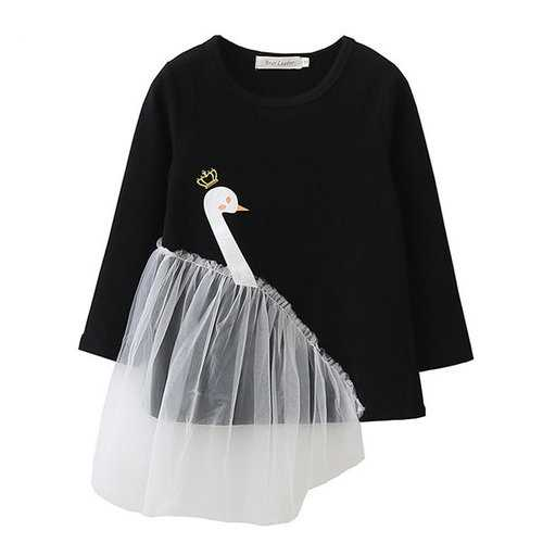 Swan Long Sleeve Kids Girls T shirt