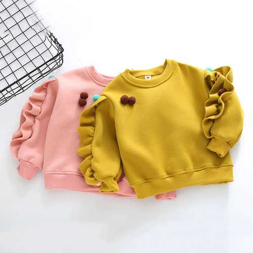 Ruffles Long Sleeve Girls Sweatshirt