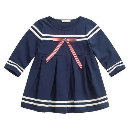 Navy Striped Girls Dresses
