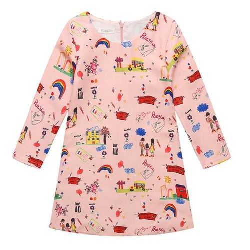 Cartoon Printed Girls Party Dress