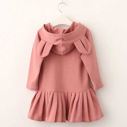 Bunny Pattern Hooded Girls Dresses