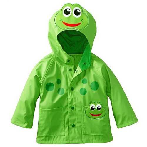 Cute Frog Kids Boys Girls Raincoat