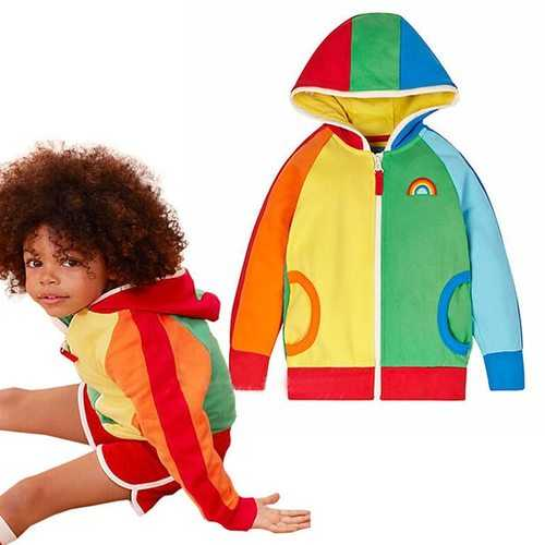 Rainbow Girls Spring Hooded Jackets