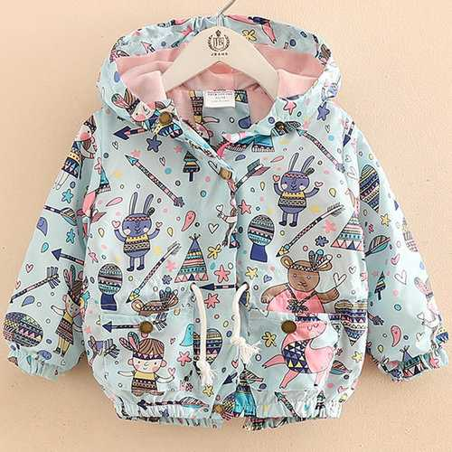 Graffiti Printed Girl Hooded Coat
