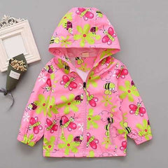 Floral Printed Girl Hooded Coat
