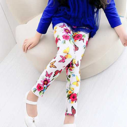 Girls Floral Printed Leggings