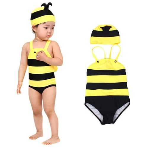 Girl Swimwear with Hat For 3Y-9Y