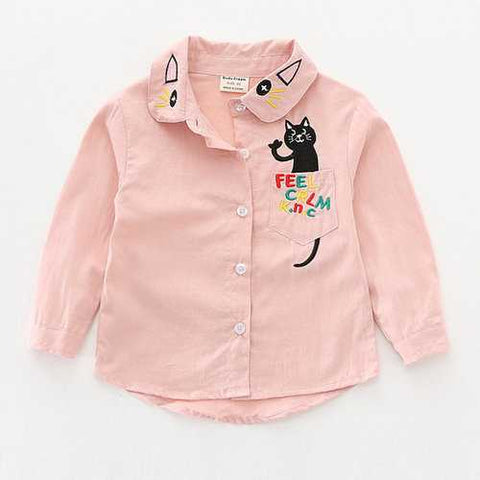 Cat Cartoon Printed Girls Shirt