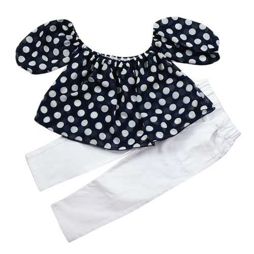 2pcs Dot Printed Girls Clothing Set