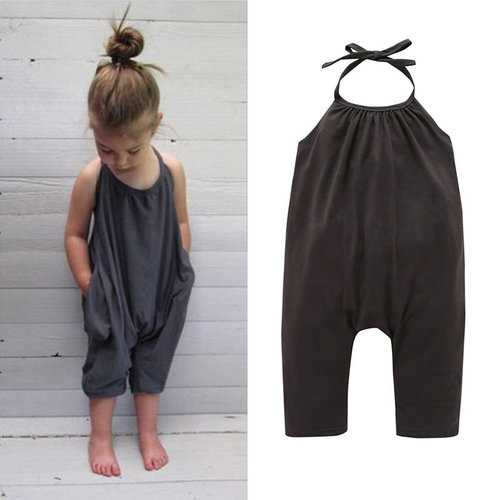 Girls Summer Backless Overalls