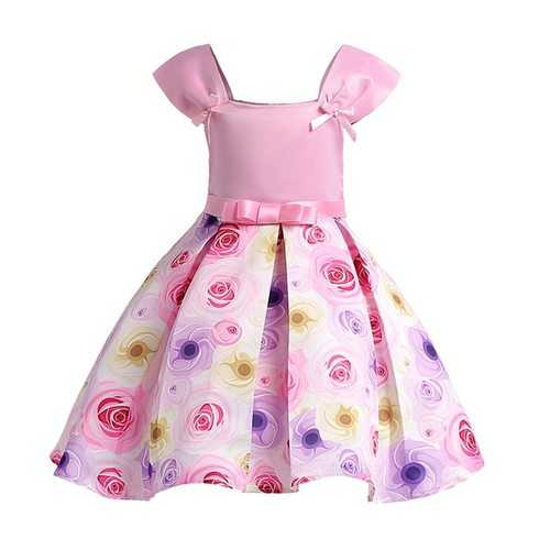 Pink Flower Girls Princess Dress