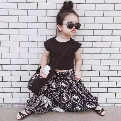 2pcs Bohemian Style Printed Girls Clothing Set