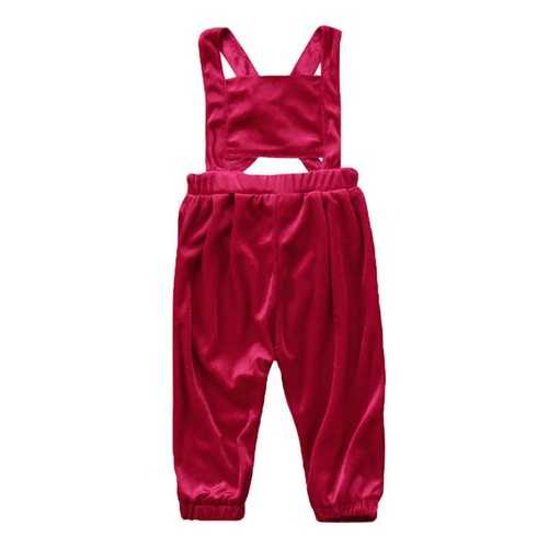 Baby Girls Backless Velvet Jumpsuit