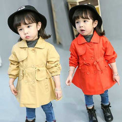 Solid Color Girl Trench Coat 2-9Y