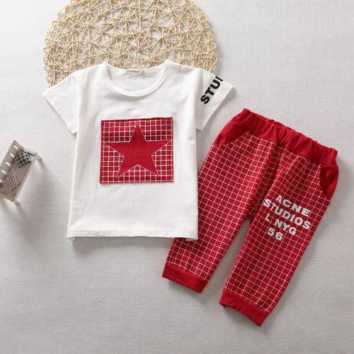 2pcs Star Grid Boys Short Clothing Sets