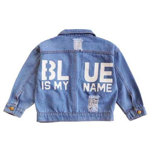 Letter Printed Kids Girls Jeans Jacket