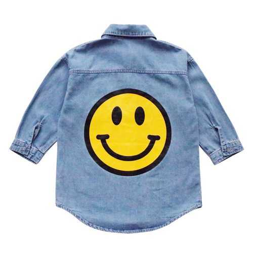 Smile Printed Kids Girls Jeans Jacket