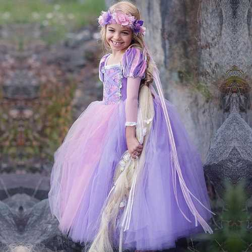 Purple Kids Girls Princess Costume Dress