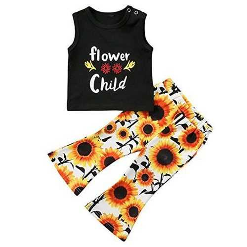 2pcs Flower Printing Girls Clothing Set
