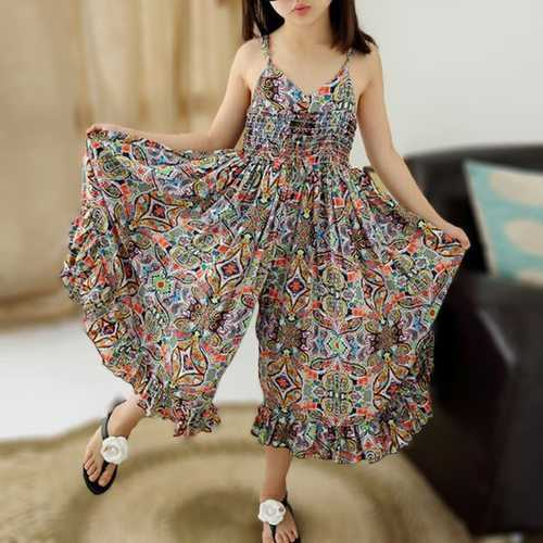 Bohemian Style Girls Printed Jumpsuit
