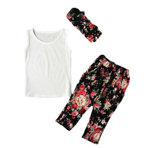 3Pcs Printed Girls Kids Clothing Set