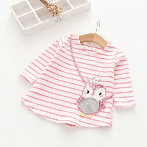 Stripe with Owl Pattern Girls Tops