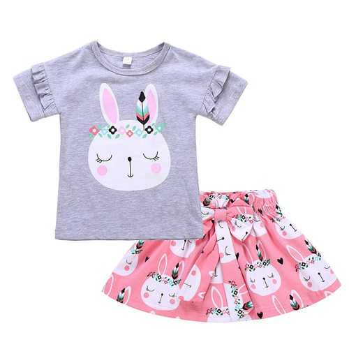 Rabbit Printed Toddler Girls Skirt Set
