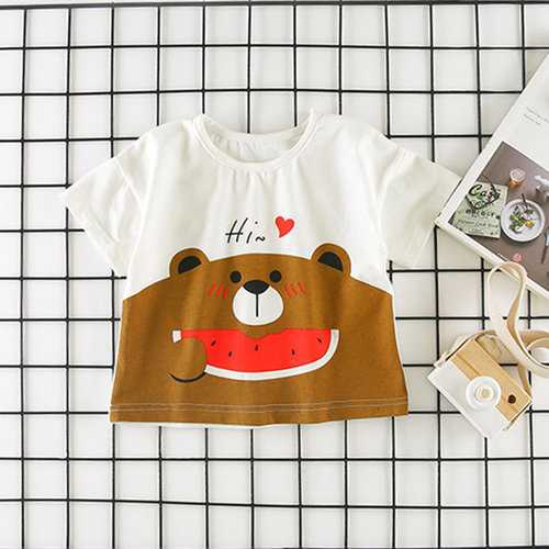 Cute Bear Pattern Girls Short T Shirt