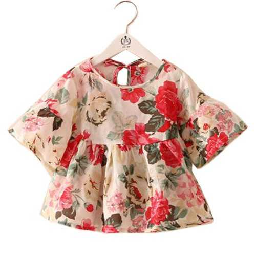 Floral Printed Girls Flare Sleeve Tops