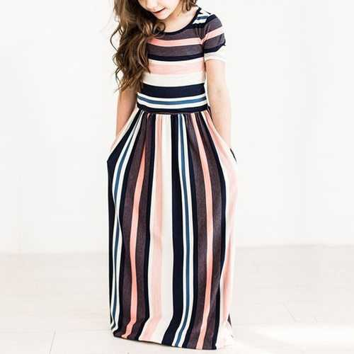Stripe Girls Maxi Party Dress
